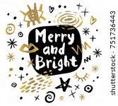 merry and bright happy new year ... | Shutterstock .eps vector #751736443