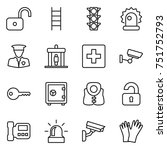 thin line icon set   unlock ... | Shutterstock .eps vector #751752793