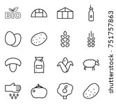 thin line icon set   bio ... | Shutterstock .eps vector #751757863