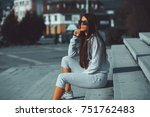 young woman with long hair and...   Shutterstock . vector #751762483