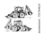 backhoe loader sketch isolated...   Shutterstock .eps vector #751764613