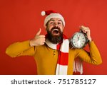 santa holds old clock showing... | Shutterstock . vector #751785127