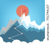 flag on the mountain peak.... | Shutterstock .eps vector #751794157