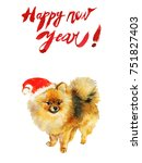 watercolor new year greeting... | Shutterstock . vector #751827403
