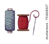 threads and needle  colorful... | Shutterstock .eps vector #751828327