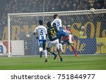 Small photo of SOLNA SWEDEN - OCT 30, 2017: Soccer player in a chaotic situation in front of the goal net in the game between AIK and IFK Gothenburg. October 30 2017,Solna,Sweden