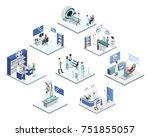 isometric 3d illustration set... | Shutterstock . vector #751855057