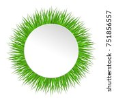 circle frame with green grass.... | Shutterstock .eps vector #751856557
