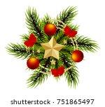 wreath realistic merry... | Shutterstock .eps vector #751865497