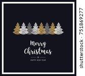 christmas black frame card... | Shutterstock .eps vector #751869277