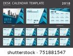 desk calendar 2018 template.... | Shutterstock .eps vector #751881547