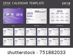 desk calendar 2018 template.... | Shutterstock .eps vector #751882033