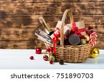 christmas basket with champagne ... | Shutterstock . vector #751890703