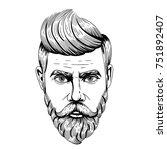 hipster man with beards. vector ... | Shutterstock .eps vector #751892407