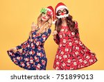 christmas new year. two young... | Shutterstock . vector #751899013