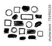 black vector  strokes of marker ... | Shutterstock .eps vector #751902133
