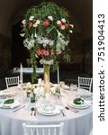 round wedding table at...   Shutterstock . vector #751904413