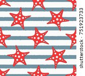starfishes on striped... | Shutterstock .eps vector #751923733