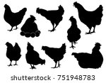 hen chicken silhouette set | Shutterstock .eps vector #751948783