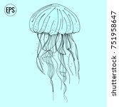 hand drawn vector jellyfish.... | Shutterstock .eps vector #751958647