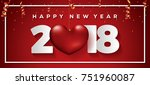 happy new year 2018 card | Shutterstock .eps vector #751960087