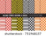 Hazard Stripes, Chevron and Checkerboard Vector Patterns. Barricade Tapes. Caution Warning Sign Backdrops. Brightly Colored Attention Catching Backgrounds. Repeating Pattern Tile Swatches Included. | Shutterstock vector #751968157