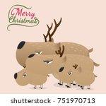 brown reindeer on vintage...   Shutterstock .eps vector #751970713