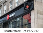 Small photo of Edinburgh, United Kingdom. 17 March 2017 : Virgin Money, Logo sign from exterior shop on Princes Street. It is a financial services brand, currently available in Australia, South Africa and the UK