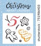 christmas advent calendar... | Shutterstock .eps vector #751986403