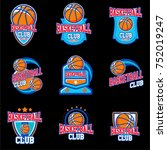 basketball logo emblem with... | Shutterstock .eps vector #752019247