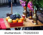 buddhist worship table with... | Shutterstock . vector #752020333