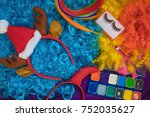 on the colored artificial hair... | Shutterstock . vector #752035627