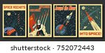 vector space posters. stylized... | Shutterstock .eps vector #752072443