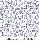 new year christmas objects... | Shutterstock .eps vector #752080393