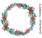 christmas wreath with flowers ... | Shutterstock . vector #752088973