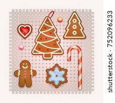 set of christmas cookies and... | Shutterstock .eps vector #752096233