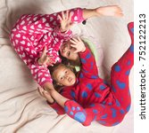 children in pajamas have fun in ... | Shutterstock . vector #752122213