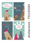 set of christmas card with cats ... | Shutterstock .eps vector #752134183