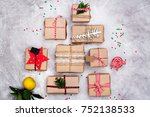many christmas gifts on stone... | Shutterstock . vector #752138533