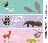 cute animals set anteater... | Shutterstock . vector #752139367