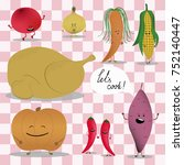 emoji products before cooking.... | Shutterstock .eps vector #752140447