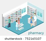 isometric interior of pharmacy. ... | Shutterstock . vector #752165107