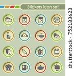 kitchen round sticker icons for ... | Shutterstock .eps vector #752183623