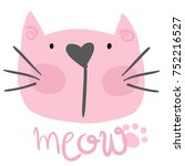 cute pink cat with meow. for... | Shutterstock .eps vector #752216527