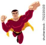 flying superhero over white... | Shutterstock .eps vector #752220103