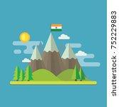 mountain landscape flat design... | Shutterstock .eps vector #752229883