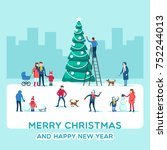 snowy street. urban winter... | Shutterstock .eps vector #752244013