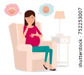 a pregnant girl thinks who will ... | Shutterstock .eps vector #752253007