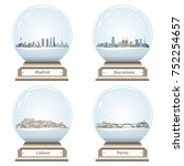 vector snow globes with madrid  ... | Shutterstock .eps vector #752254657