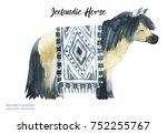 watercolor icelandic horse hand ... | Shutterstock . vector #752255767